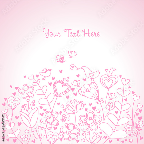 Heart Floral Background Pink