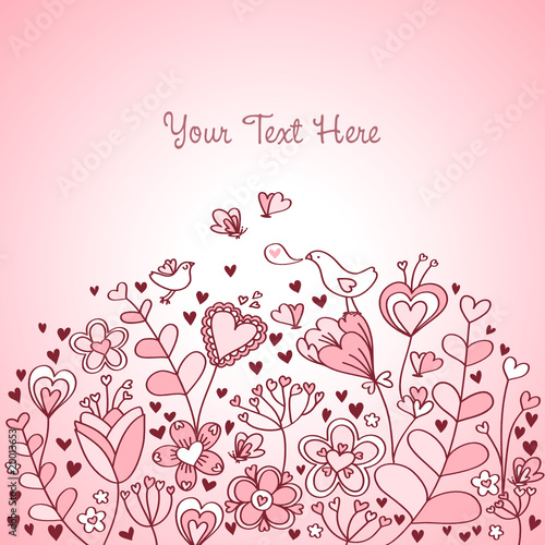Heart Floral Background Red and Pink