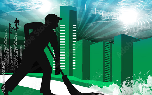 Illustration of a silhouette of a man cleaning the road
