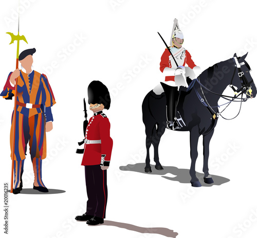 Vector image of three guards on a horse isolated on white