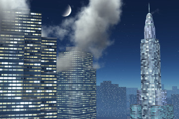 Three Skyscrapers on background of the city, night sky with moon