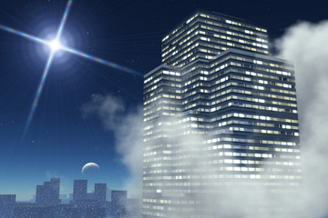 Skyscraper clouds on background of the city, night sky with moon
