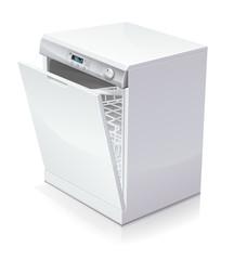 Lave-vaisselle entrouvert (reflet)