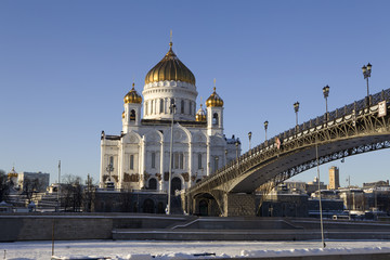 Winter view on Christ the Savior Cathedral Moscow Russia