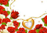 Postcard with roses, pearls and medallion in the shape of heart poster