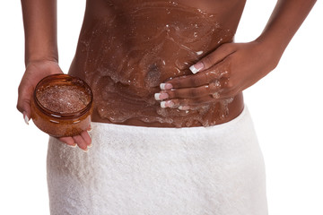 Exfoliation Woman Putting scrub on abdomen