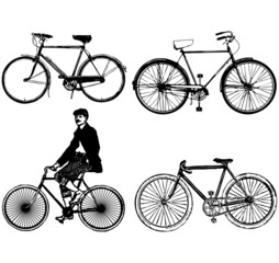 Set of silhouettes old classic bike Illustration Vector