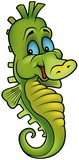 Smiling Seahorse - colored cartoon illustration poster