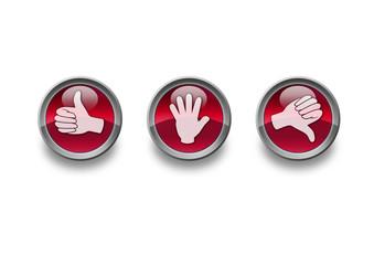 """glänzende rote Buttons """"Hände"""""""