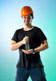 Workman with bottle poster