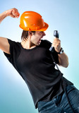 Workman screaming on phone poster