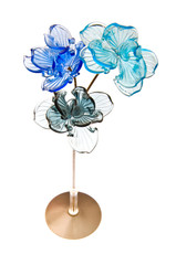Glass flowers isolated on white background