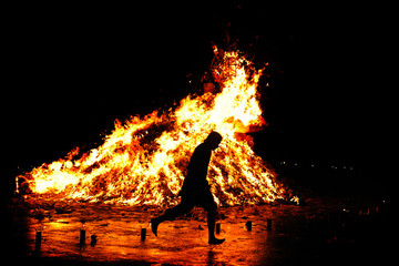 Traditional Religious Fire Run in Asia