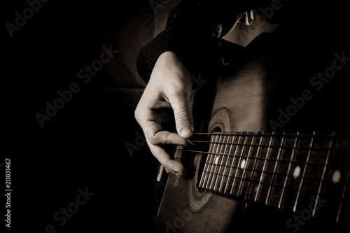 guitar at black background