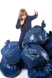 Environement - Enfant et poubelles poster