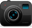 Color digital Compact camera, vector illustration.