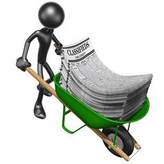 Carrying Employment Classifieds In A Wheelbarrow