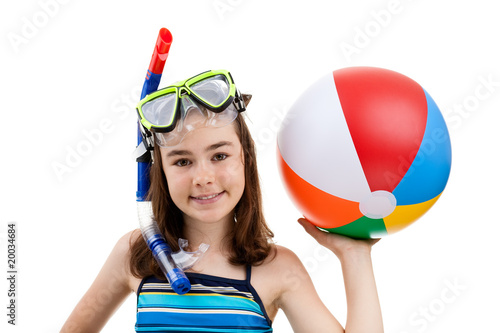 Poster Girl ready to swimm and dive isolated on white background