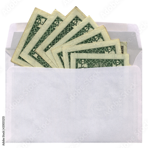 one white envelope with dollars, white background isolated