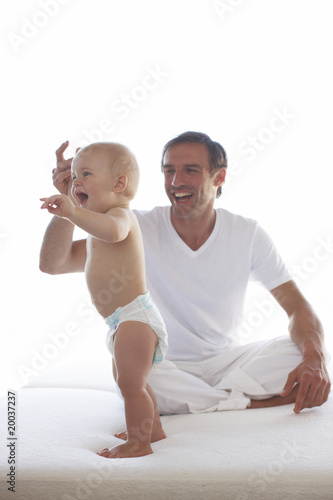 Young father with his baby