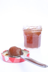 Jam of plum, apple and mint
