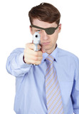 Terrible man aiming gun on white background