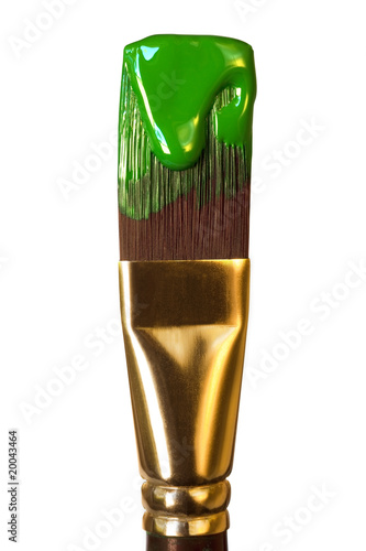 Artist's Paintbrush with Green Paint