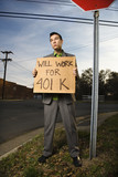 Young Businessman Holding 401k Sign poster