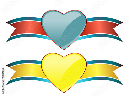 Stylish heart banners
