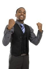 African american business man excited