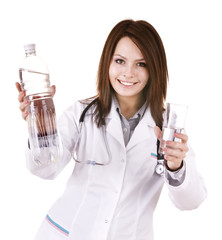 Doctor with glass of water and bottle. Isolated.
