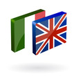 english italian translation button 3d vector