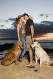 Affectionate Couple With Dogs at the Beach poster
