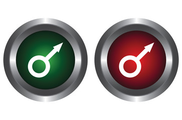 Two buttons with the symbol of Mars