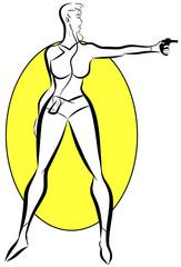 femme look futuriste avec ipod qui tire au pistolet