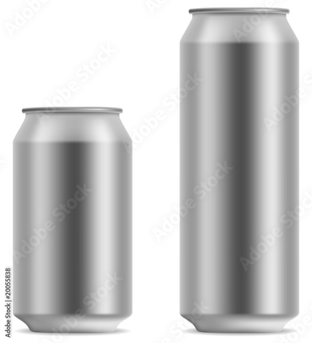 Blank beer can in 2 variants 330 and 500 ml