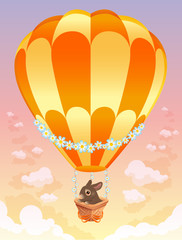 Hot air balloon with brown bunny. Vector illustration.