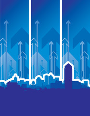 cityscape with blue arrow background