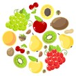 Set of fruits and nuts on a white background