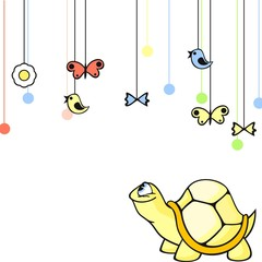 Cute card with a little yellow turtle