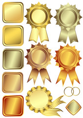 Set gold, silver and bronze design elements