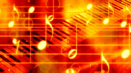 Red Orange Piano and Notes Music Loop