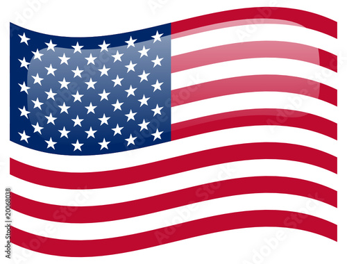 USA Flag Button (United States America US Symbol Banner Vector)