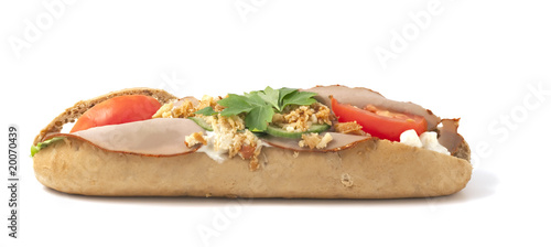 Submarine sandwich isolated on white background.