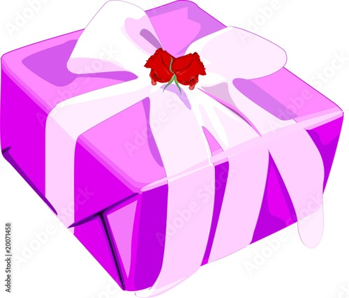Gift box decorated with ribbon and rose.