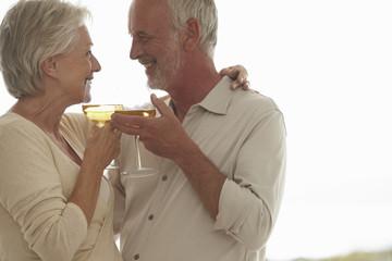 Elderly couple having fun