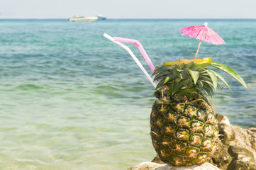 Pinacolada with pipe on beach