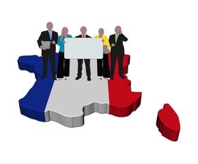 business team with sign on France map flag illustration
