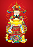 Chinese New Year god of wealth, with treasures, vector poster