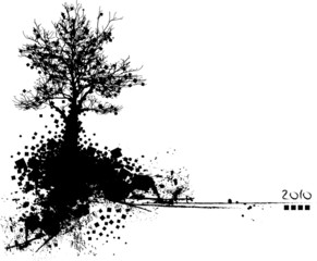 vector of black silhouette of tree